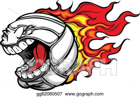vector clipart flaming volleyball ball screaming face vector rh gograph com Volleyball Clip Art Designs Volleyball Serve