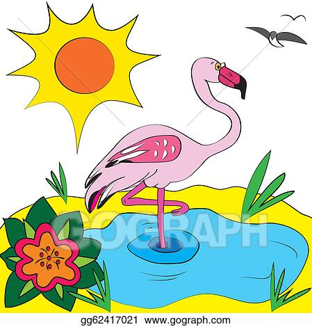 Vector Stock Flamingo Color Page Illustration Clipart