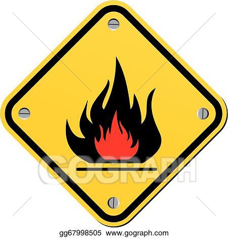 Clip Art Vector Flammable Warning Sign Stock Eps Gg67998505 Gograph