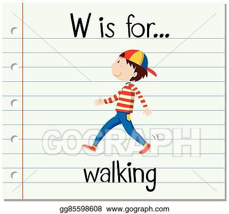 Flashcard alphabet W is for walking