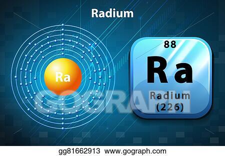 Vector Art Flashcard Of Radium Atom Clipart Drawing Gg81662913