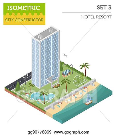 Vector Stock - Flat 3d isometric resort hotel and city map