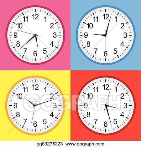 EPS Illustration - Flat analogue clock colour set  Vector