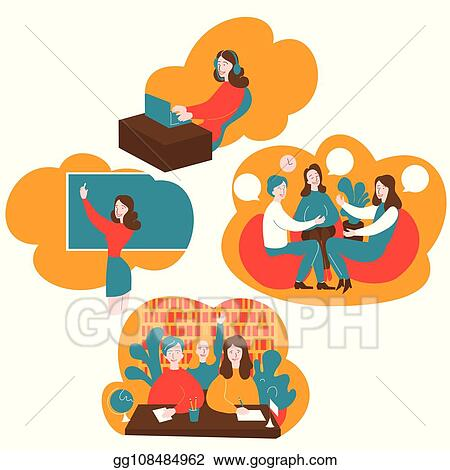 Vector Stock Flat Audiopodcast And Online Education Speaking Club Discussion Class Cartoon Students Learn English With Teacher In School Learning Foreign Languages Course Stock Clip Art Gg108484962 Gograph