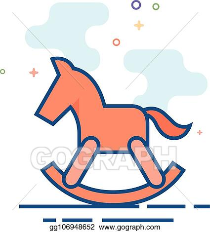 Vector Art Flat Color Icon Rocking Horse Toy Clipart Drawing