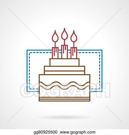 Vector Illustration Flat Color Line Birthday Cake Vector Icon