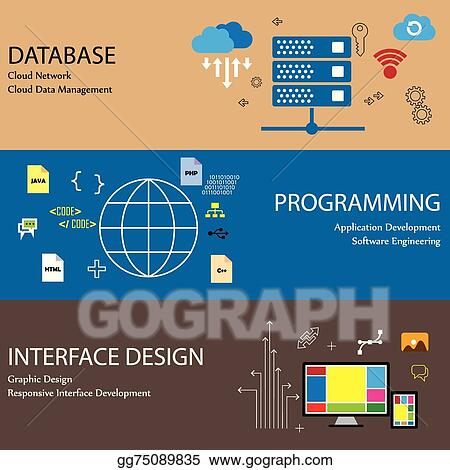 Vector Art - Flat design line icons of concepts like database cloud