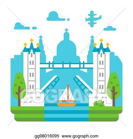 Vector Stock Flat Design Tower Bridge London Clipart Illustration