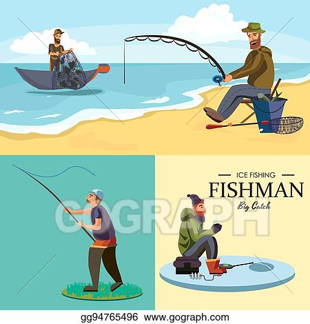 Vector Art Flat Fisherman Hat Sits On Shore With Fishing Rod In