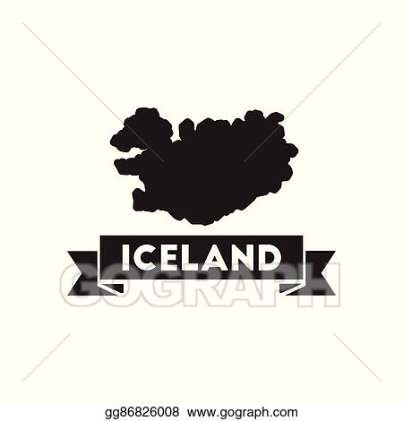Vector Art - Flat icon in black and white iceland map. Clipart ...