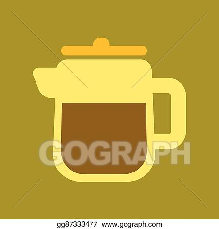 Vector Art - Flat icon on background coffee machine maker  Clipart