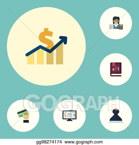 Flat Icons Bookkeeper Book Accounting System And Other Vector Elements Set Of Registration Symbols Also Includes Card
