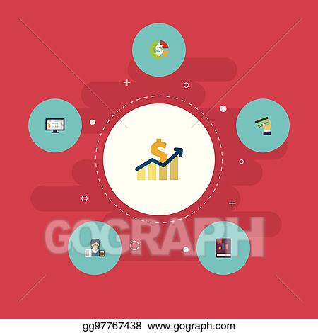 Flat Icons Bookkeeper Card Accounting System And Other Vector Elements Set Of Recording Symbols Also Includes Credit Accountant Software