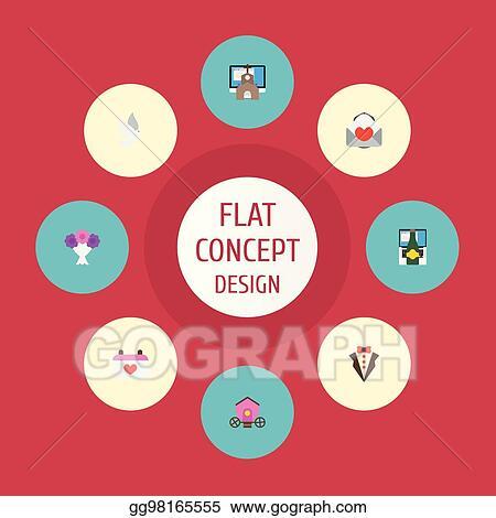 vector illustration flat icons bridegroom dress pigeon calendar