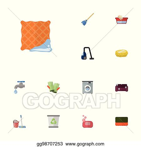 Vector Clipart Flat Icons Faucet Wisp Washcloth And Other Vector
