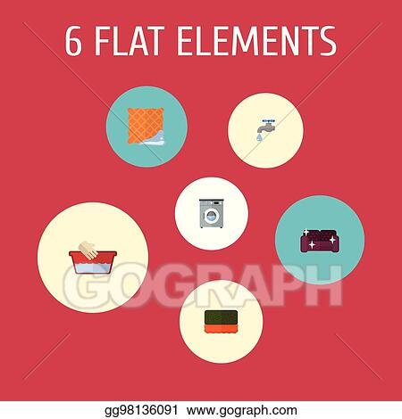 Vector Stock Flat Icons Laundromat Washcloth Faucet And Other