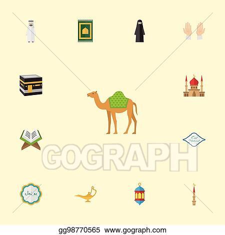 Vector Art - Flat icons minaret, prayer carpet, muslim woman and