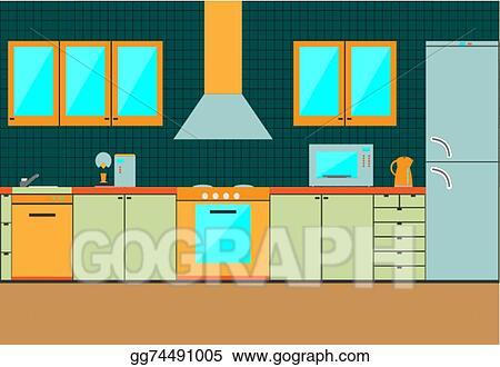 Vector Illustration Flat Kitchen Interior Cabinets Accessories