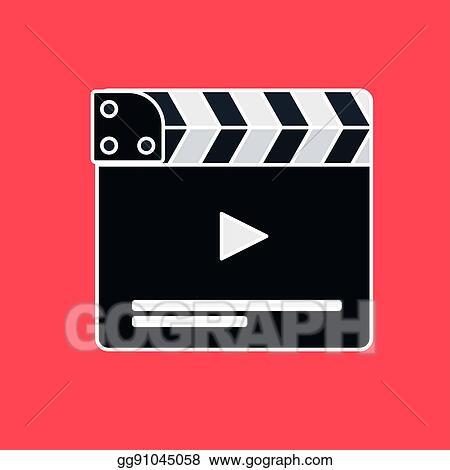 clip art flat movie clapperboard stock illustration gg91045058