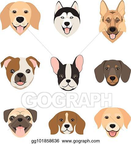 Vector Art Flat Style Dog Head Icons Cartoon Dogs Faces Set