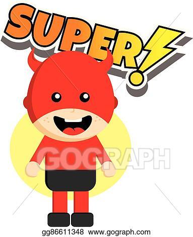 clip art vector flat style superhero character avatar on ribbon