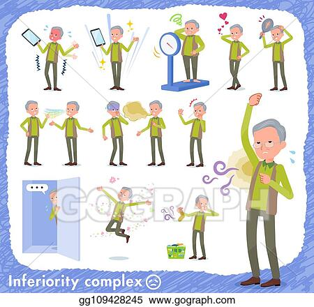 Vector Art Flat Type Green Vest Old Man Complex Clipart Drawing