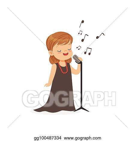 Vector Clipart Flat Vector Illustration Of Singing Little Girl