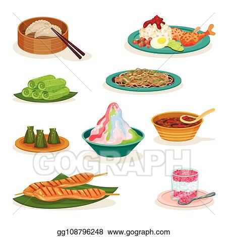Flat Vector Set Of Different Malaysian Dishes Delicious Food Asian Cuisine Culinary Theme
