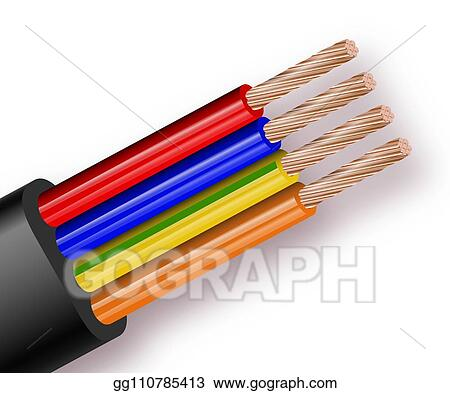 Eps Vector Flexible Four Wire Electrical Cable Isolated On White Background Copper Multicore Cable In Color Insulation Close Up Of The Cross Section Stock Clipart Illustration Gg110785413 Gograph