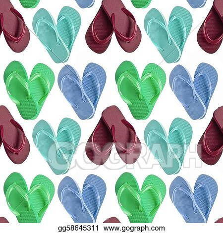 2fcaee1be826 Stock Illustrations - Flip flop sandals in heart shapes seamless ...
