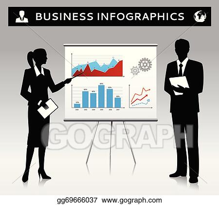 vector clipart flipchart presentation template with business