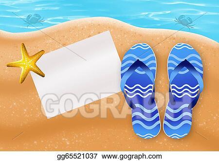 efd8dea84 Stock Illustration - Flipflops on the beach. Clipart gg65521037 ...