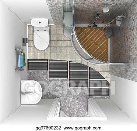 Floor Heating System In The Bathroom Top View 3d Illustration