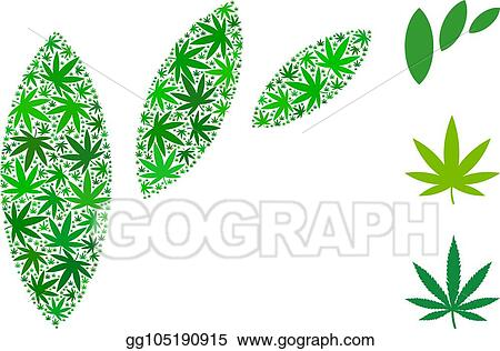 Vector Clipart Flora Leaf Abstraction Collage Of Weed Leaves Vector Illustration Gg105190915 Gograph