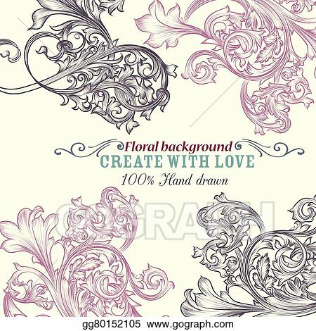 vector clipart floral background with engraved ornaments ideal for