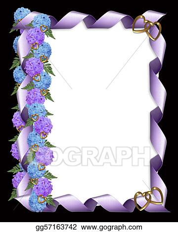 Drawing - Floral border hydrangeas and ribbon. Clipart Drawing ...
