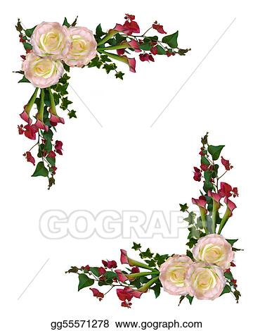 Stock Illustration - Floral border roses and calla lily. Stock Art ...