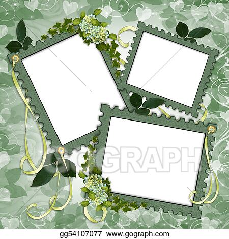 736149fabc8 Stock Illustration - Floral border scrapbook album page. Clipart ...