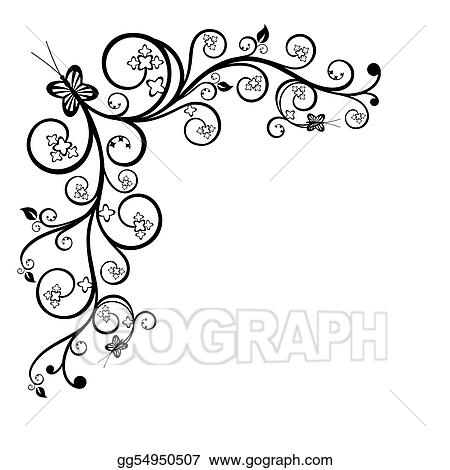 Vector Clipart - Floral corner design element  Vector