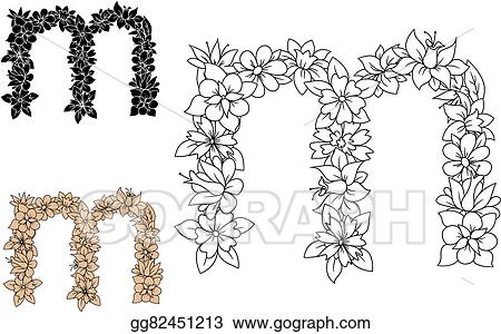 vector art floral decorative lowercase letter m clipart drawing
