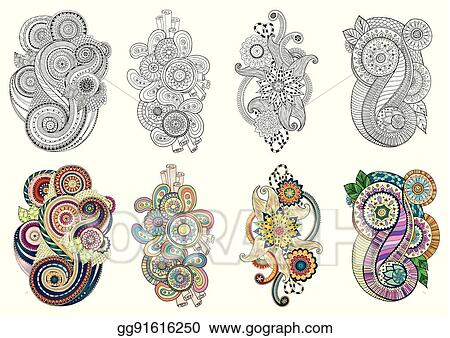 Set Of Henna Paisley Mehendi Tribal Design Patterns Colorful Version For Any Kind And Black White Coloring Book Adults Kids