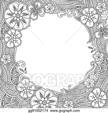 Vector Clipart Floral Hand Drawn Round Frame In Zentangle Style