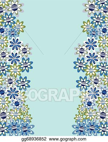 Vector Art Floral Invitation Or Greeting Card On Blue Background