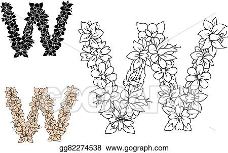 Vector Art Floral Letter W With Blooming Flowers Eps Clipart