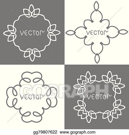 Clip Art Vector - Floral outline frames and borders. vector mono ...