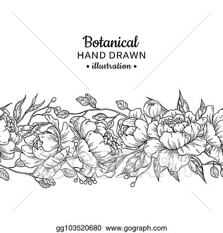 Vector Art Floral Seamless Vintage Border Vector Peony And Roses