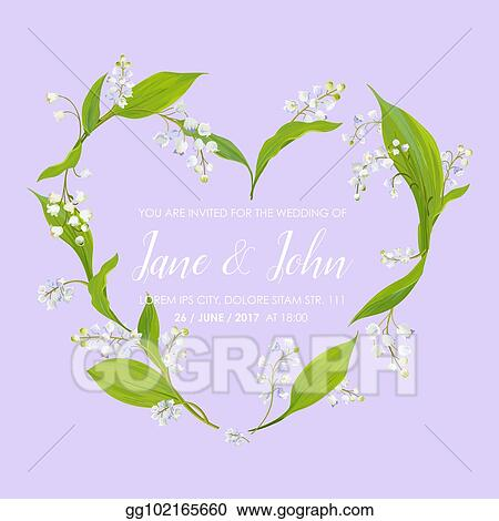 vector clipart floral wedding invitation template with spring lily