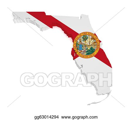 Stock Illustrations - Florida map 3d shape. Stock Clipart ... on maps of delaware shape, florida state shape, map of connecticut shape, map of kentucky shape, map of washington dc shape,