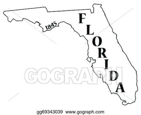 Eps Vector Florida State And Date Stock Clipart Illustration