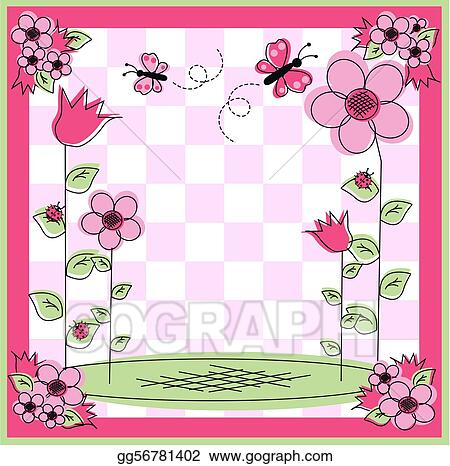 Vector Stock - Flower and butterfly frame. Clipart Illustration ...